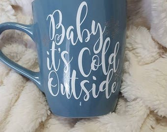 Baby It's Cold Outside Blue Ceramic 16 Oz Christmas Mug