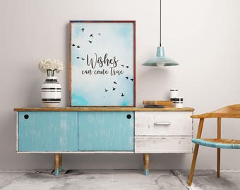 Dandelion print, Inspirational print, Inspirational quote, Dandelion art, Motivational quote, Home decor, Quote print, Digital Wall Art