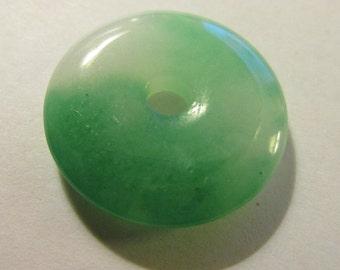 "Chinese Vibrant Green Jade ""Pi"" Ring Pendant, 1"""