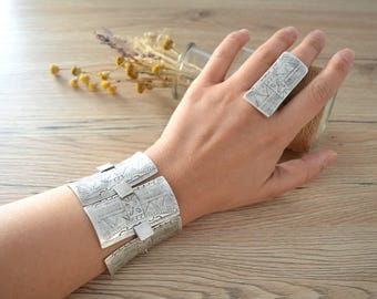 African Tuareg Shield bracelet, Long Rectangular Silver Link bracelet, Bohemian Ethnic Tribal bracelets, Silver Tuareg Jewellery