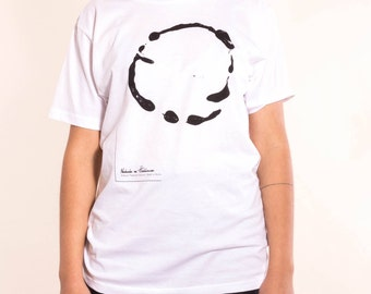 White organic cotton with abstract print T-Shirt