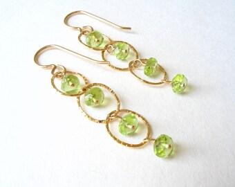 Peridot Earrings, August Birthstone, Gold Peridot Jewelry, Lime Green Gemstone, Flirty Earrings,  Green Gemstone Gold, Wire Wrap Peridot
