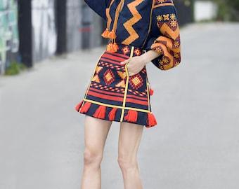 Women embroidered skirt vyshyvanka blouse Ukrainian vyshyvanka set Folk traditional clothes geometric pattern. Mini short women skirt