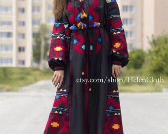 Kaftan Linen Black Maxi Dress Ukrainian Vyshyvanka Dress Embroidered Boho Dress Bohemian Linen Dress Abaya Mexican Size plus Bohemian Dress