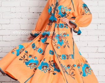Ukrainian Vyshyvanka Orange Embroidered Dress Mexican style Peasant gift for her Bohemian lond flared skirt Folk Ethno Floral embroidery