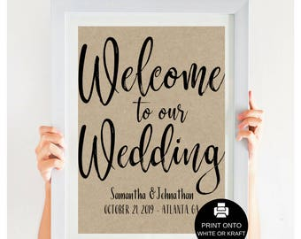Modern Welcome Wedding Sign, Rustic Wedding Sign, Welcome To Our Wedding, Kraft Wedding, Wedding Poster, DIY Wedding, #IDWS817_34C