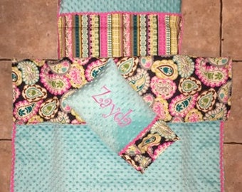 Custom appliqued paisley nap mat cover, blanket, pillow and pillow case