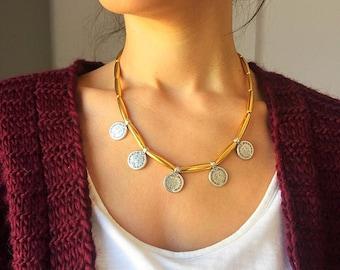 Ethnic Necklace, Ethnic Pendant, Ethnic Jewelry, Gold Necklace with Pendant Discs, Gold Jewelry, Made in Greece.