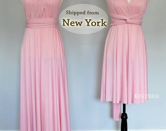 Baby Pink Bridesmaid dress, infinity dress, convertible dress, maternity gown, party dress, prom dress. please Read Listing