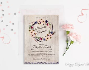 Floral Bridal Shower Invitation Boho Bridal Shower Invite Floral Wreath Spring Bridal Party Summer Bridal Shower Rustic Typography Invite