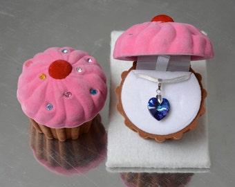 Heart Necklace in Swarovski Heliotrope Crystal