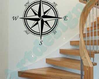 COMPASS Rose Nautical Maritime Travel Home Decor Vinyl Matt Wall Art Sticker Transfer Decal *20 colours* *Two Sizes*