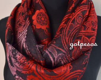 Pashmina Snood, infinity Scarf, loop scarf, circle scarf, Paisley Pashmina Shawl, infinity pashmina, black and red pashmina scarf