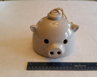 vintage stoneware pottery pig dinner bell - ceramic clay hanging art deco sculpture - primitive decor w/ wooden clapper & rope farm piggy