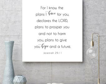 For I Know The Plans I have For You Declares the Lord, Jeremiah 29:11, Scripture Art, Print, Inspirational Word Art, Minimalistic Printable