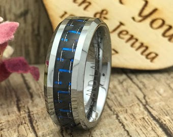 8mm Carbon Fiber Ring, Personalized Engrave Tungsten Wedding Ring with Red Carbon Fiber Inlay, Men's Wedding Band, Father's Day Gift