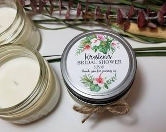 12 - 4 oz Personalized Bridal Shower Favors - Wedding Favors - Guest Favors - Soy Candle Favors - Wedding Candles - Mason Jar Favors