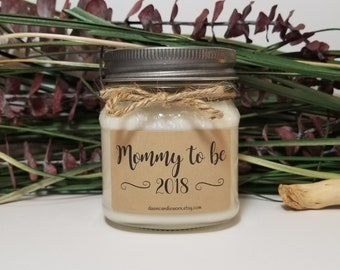 Mommy To Be Gift - 8oz Soy Candles Handmade - New Mother Gift - Baby Shower Favors - Mason Jar Candles - Personalized Candles - New Baby