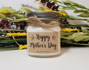 Mother's Day Gift Candle - 8oz Soy Candles Handmade - Gift for Mom - Gift for Stepmom - Personalized Gift - Mason Jar Candles