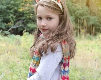 Rainbow Ears Headband / Pink and Green / Wool Felt / Girl's Accessory / Bear Ears Headband