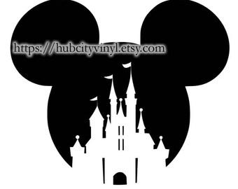 Disney Mickey Ears with Castle Vinyl DIY IRON ON