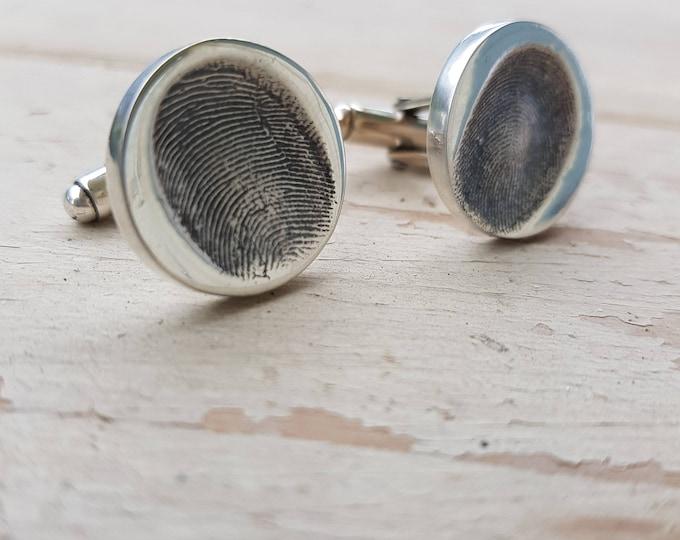 Featured listing image: Fingerprint Cufflinks Dad Husband Silver Cufflinks