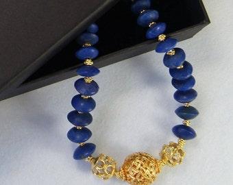 Unpolished Lapis and Vermeil Gold Necklace E 08