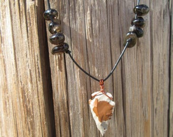 Gray & Brown Arrowhead Necklace