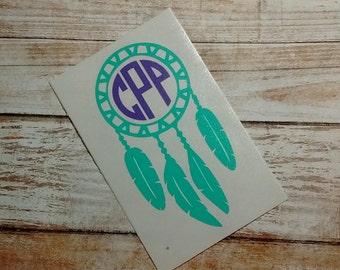 Dreamcatcher Decal/ Dreamcatcher Monogram/ Monogram/Decal/ Vinyl Decal/ Initial Decal/Yeti Cup Decal/ Dreamcatcher Sticker/Wings/Flash Decal