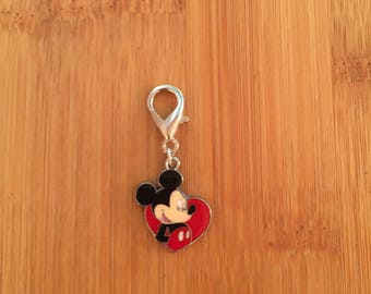 Mickey Mouse zipper charm, Mickey Mouse zipper pull, Mickey Mouse keychain, Disney charm