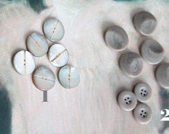 6 buttons carved mother-of-Pearl vintage buttons, haberdashery 1900, old haberdashery shop, vintage buttons of Sable, 906 907