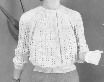 Vintage Women's Lace Button-Up Sweater w/ Yoke Knitting Pattern PDF 1954