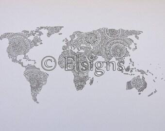 Black and White World Mandala