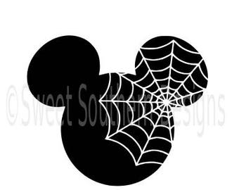Mickey Mouse Halloween spider web Disney SVG instant download design for cricut or silhouette