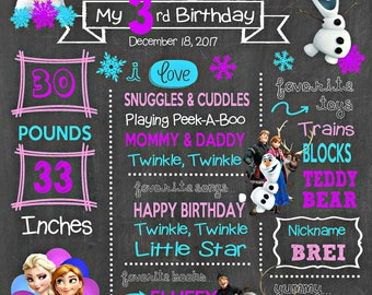 Frozen Birthday Chalkboard Poster - Elsa Anna Olaf Wall Art design - First Birthday Poster Sign - Any Age