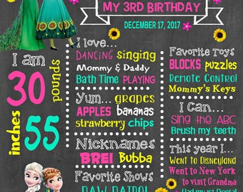 Frozen Birthday Chalkboard Poster - Frozen Fever Elsa Anna Wall Art design - Birthday Party Poster Sign - Any Age