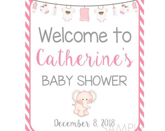 Welcome Baby Shower Poster Sign, Girl Baby Shower,  Announcement Sign, Pregnancy Poster Sign, Printable Poster, Keepsake Sign, Customized