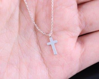 Tiny Silver Cross Necklace, Dainty Cross Necklace, Sterling silver necklace, Delicate cross necklace, Sterling silver cross necklace, gift