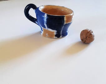 Ceramic coffee mug / / ceramic blue mug / / blue Plaid mug / / craft coffee mug / / Cup blue hand made / / Cup de Provence