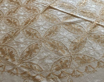 tablecloth, round, 60 inches, and 6 napkins, Aghabani Tablecloth, Embroidered beige tablecloth, Syrian textiles, Beige and gold tablecloth