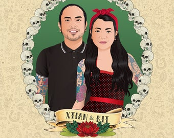 Custom couple portrait, Rockabilly, Tattoos, Skulls, Digital Illustration to print, Couple Rockabilly portrait