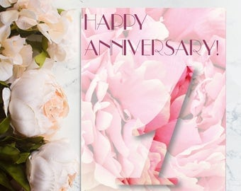 Happy 1st Anniversary Card, 1st Anniversary Card, One Year Anniversary