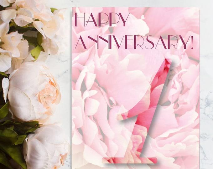 Happy 1st Anniversary Card, 1st Anniversary Card, One Year Anniversary