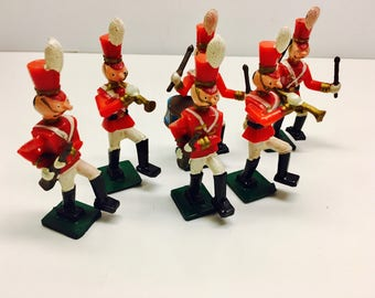"Vintage Wilton Cake Toppers, Set of 6 Marching Band Characters - 3"" H"