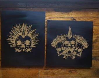 Skull Canvas, Skull Decor, Metallic Skulls, Punk Rock, Music Lover, Mohawk, 80s Music, Glowing Skull, Grunge, Handmade Artwork, Pop Punk