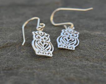 Owl Earrings, Bird Earrings, Owl Gifts, Owl Jewelry, Owl Lover Gift, Birthday Gifts For Girls, Cute Earrings, Sterling Silver Drop Earrings