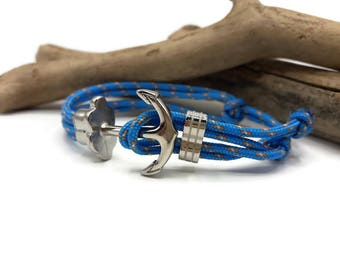 Bracelet Homme Ancre acier inoxydable - Bracelet cordon paracord bleu- Cadeau homme -Ajustable -Bijoux unique createur