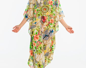 Tropical kaftan, digital print kaftan, caftan dress, plus size dress, beach kaftan dress FLORAL dress in multicolors embellished caftans