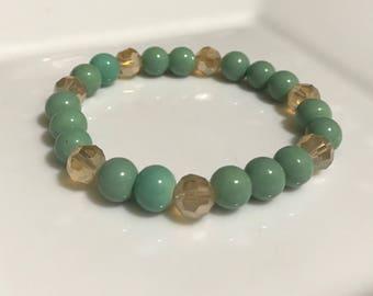 Green and Beige Handmade Beaded Bracelet