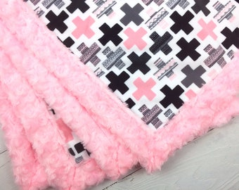 Minky blanket, cross plus blanket, pink black gray blanket, baby blanket, throw blanket, geometrical blanket, baby shower gift, birth gift